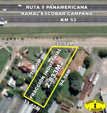 FRACCION INDUSTRIAL SOBRE RUTA 9 KM 53 ESCOBAR 2833M2